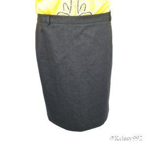 J. Crew Career Pencil Skirt Gray Belt Loops Pleats